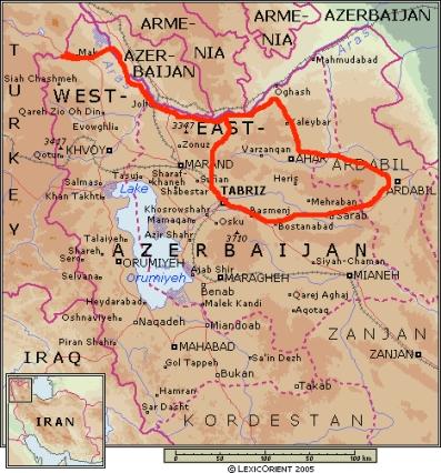 mapa nord Iran
